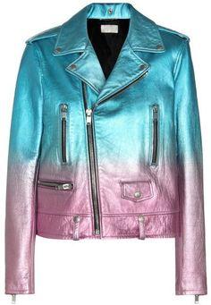 Gradient Metallic Ombre Leather Biker Jacket in Blue & Pink