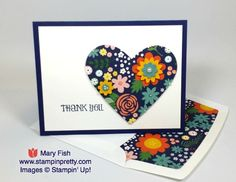 Embellish Stampin' Up! Flower Pot Designer Series Paper with flower punches and pearls.  Mary Fish, Stampin' Pretty.  http://stampinpretty.com