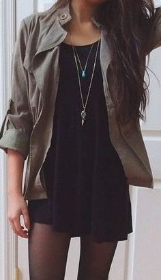 This casual black dress with the tights is such a cute outfit