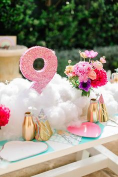 Cloud Inspired Guest Table Setup From A Nine Rainbow 9th Birthday Party On Karas Ideas