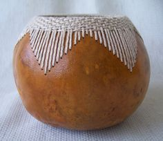 Small gourd bowl with stitched and woven V by VestedInterest, $25.00