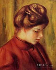 Pierre Auguste Renoir Profile Of A Woman In A Red Blouse oil painting reproductions for sale