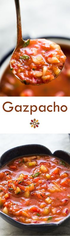 California version of the classic Spanish gazpacho! Chilled soup made with ripe fresh tomatoes, cucumber, bell pepper, celery, and onions. Perfect for a hot summer day! Soup Recipes, Vegetarian Recipes, Cooking Recipes, Healthy Recipes, Recipies, Vegetarian Soup, Healthy Soup, Shrimp Recipes, Healthy Nutrition