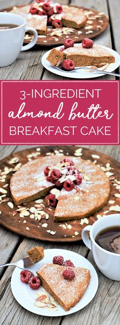 This simple, delicious, even healthyish gluten-free breakfast cake is made with just THREE ingredients! Eggs + almond butter + almond flour bake into light, nutty cake that's basically magic.