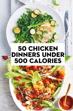 50 chicken dinners under 500 calories Healthy Eating Recipes, Diet Recipes, Chicken Recipes, Healthy Food, Very Low Calorie Foods, Low Calorie Recipes, Dinners Under 500 Calories, 300 Calories, 800 Calorie Meal Plan