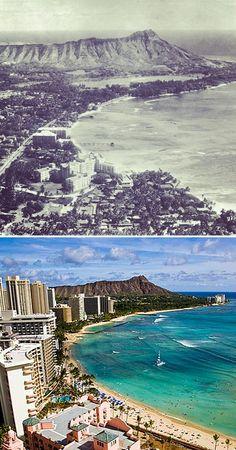Then and now - Waikiki Hawaii Hula, Honolulu Hawaii, Maui, Hawaii Pictures, Island Pictures, Big Island, Island Life, All About Hawaii, Hawaii Homes