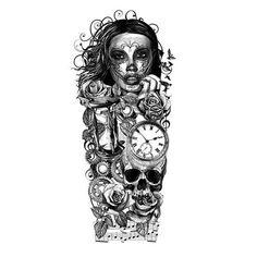 Dios De Los Muertos Inspired Full Sleeve Tattoo