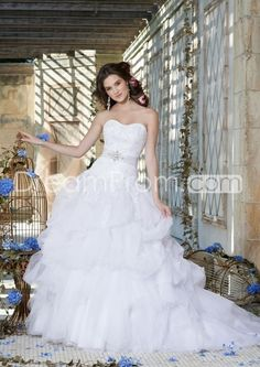 Organza Wedding Dress with Jeweled Collar