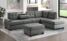 """Homelegance 9367DG*SC 2 pc Wildon home fossil dark gray textured fabric sectional sofa with reversible chaise drop down tray back. This set features a sofa with center drop down tray back, and reversible chaise lounge all with pocket coil seating. Sectional measures 112.5"""" x 81"""" x 33.5"""" D x 35.5"""" H. Some assembly required."""