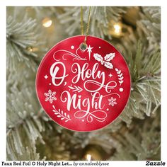 Faux Red Foil O Holy Night Lettering Photo Ceramic Ornament