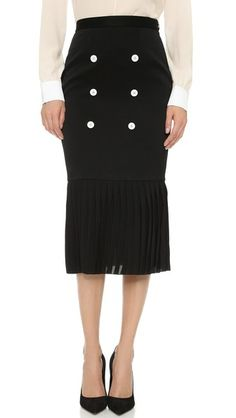 EDUN Pleated Skirt with Contrast Buttons   SHOPBOP