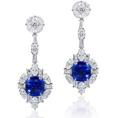 Setaré. The perfect cushion-cut royal blue unheated sapphire earrings! The precisely matched sapphires are of Sri Lankan origin and weigh over 15 carats of Sapphires.