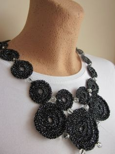 Black and silver necklace with cristal beads by woolderland, £12.99