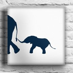 Baby Elephant and Mother Custom Silhouette Painting White Background. $45.00, via Etsy.