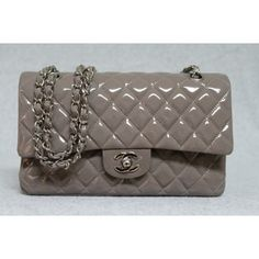 Chanel grey taupe quilted patent classic double flap bag