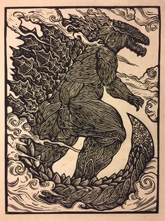 "Monster Planet Godzilla 18""x24"" linocut  Brian Reedy"