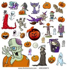 Cartoon Illustration of Halloween Holiday Themes and Design Elements Set