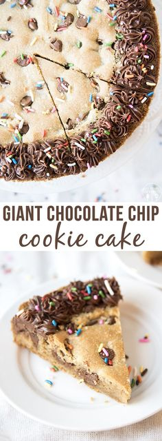 Giant Chocolate Chip Cookie Cake - This cookie cake is the new best way to eat a chocolate chip cookie! Slice it up and its a great easy weekday dessert, or fun…(Cookie Cake Recipes) Easy Desserts, Delicious Desserts, Yummy Food, Delicious Cookies, Baking Desserts, Food Cakes, Cupcake Cakes, Chocolate Chip Cookie Cake, Giant Cookie Cake