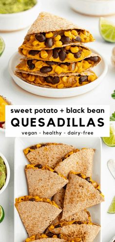 Sweet potato black bean quesadillas are vegan, healthy, dairy-free, and so delicious! This Mexican-inspired dinner recipe is loaded with vegetables. Crispy tortillas are stuffed with a creamy sweet potato cheese sauce, spicy black beans, and corn. These vegan quesadillas are made without cheese and without meat! #quesadillarecipes #quesadillas #sweetpotatorecipes #veganrecipes #vegandinner #beans #mexicanfoodrecipes #mexicanrecipes #cincodemayo #veganmeals #plantbasedrecipes #meatlessmonday Best Vegan Recipes, Vegan Dinner Recipes, Vegan Dinners, Mexican Food Recipes, Vegetarian Recipes, Healthy Recipes, Vegan Appetizers, Vegan Snacks, Appetizer Recipes