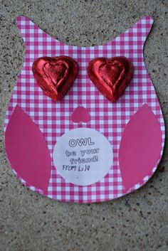 """Owl be your valentine""  Homemade Valentine's Day Gift Idea for kids Pinned by www.myowlbarn.com"
