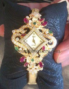 Jewellery Designs: Floral Design Watch cum Bracelet