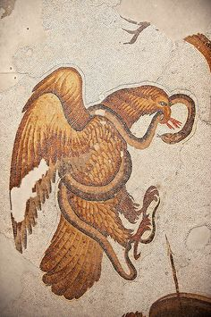 6th century Byzantine Roman mosaics of an Eagle catching a snake from the peristyle of the Great Palace from the reign of Emperor Justinian I. Istanbul, Turkey. | Photos Gallery