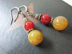 Handmade Earrings, Agate Earrings, Beaded Earrings, Dangling Earrings, Antique Gold, Vintage. $12.00, via Etsy.