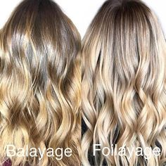 Do you know the difference between a Balayage and a Foilayage? Its ok most people don't! The most obvious difference is that a foilayage is done in well a foil. You'll get a higher lift in f Subtle Balayage Brunette, Brunette To Blonde, Light Blonde Hair, Brown Blonde Hair, Summer Hairstyles, Cool Hairstyles, Ambre Hair, Beliage Hair, Lob Styling
