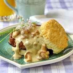 Biscuits with Chanterelle Mushroom Gravy and Chorizo Sausage - a celebration brunch dish that's sure to impress. This takes biscuits and gravy to a whole new level.