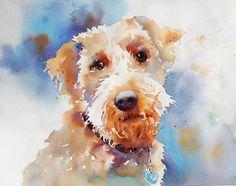 Terrier by Yvonne Joyner Watercolor ~  x