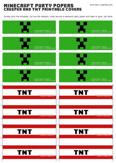 tnt free printables | Printable Minecraft Creeper & TNT party popper cover templates