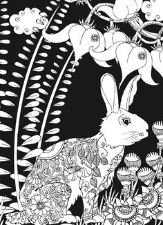 Welcome to Dover Publications Midnight Forest Bunny Rabbit Abstract Doodle Zentangle Paisley Coloring pages colouring adult detailed advanced printable Kleuren voor volwassenen coloriage pour adulte anti-stress kleurplaat voor volwassenen Line Art Black and White