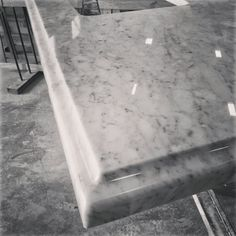 """The Granite Gurus: Behind the Scenes on Instagram.  Carrara marble with laminated 1 1/2"""" Ogee Square edge detail."""