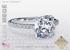 Antique Cushion Diamond Engagement Ring by Leon Megé