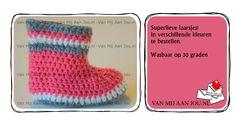 gehaakte slofjes & booties - beschikbare maten: 0 tot 24 maanden - op bestelling - wordt met de hand op maat en kleur gehaakt - www.vanmijaanjou.nl