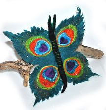 HANDMADE FELTED WOOL BROOCH/CORSAGE/PIN WET FELTING BUTTERFLY PEACOCK FEATHER