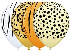 This assorted pack of safari themed latex balloons are a must Printed Balloons, Jungle Party, Tiger Stripes, Latex Balloons, Biodegradable Products, Color Mixing, Safari, Prints, Printmaking
