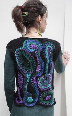 Designed by Martineli Freeform Crochet, Crochet Art, Irish Crochet, Free Crochet, Crochet Collar, Crochet Jacket, Crochet Blouse, Crochet Needles, Crochet Stitches