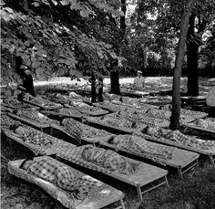 """Zakłady Mechaniczne """" Ursus """", przedszkole zakładowe dla dzieci pracowników, leżakowanie, 1966 r."""