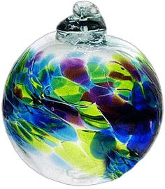 "Kitras Art Blown Glass 2"" Birthstone Birthday Ball - September Ornament"