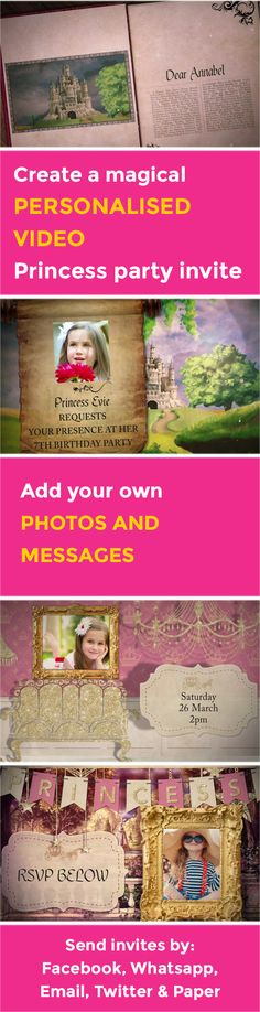 Create your own magical Princess VIDEO party invitation - www.poshtiger.co Online Birthday Invitations, Party Invitations Kids, Invites, Princess Videos, Princess Party, Rsvp, Create Your Own, Messages, Texting