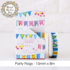 Party Flags Washi Tape, perfect for your art journal, planner, invitations & more! - Get yours at https://mixedmediastore.com.au :)