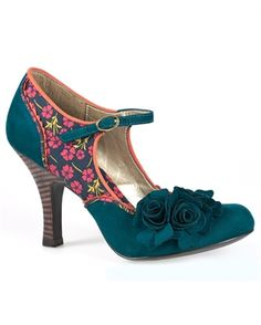 Ruby Shoo Womens Charlize Shoes Teal Green-- these would look FAB with my dress!