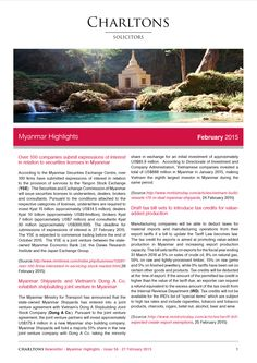 Myanmar Highlights - 27 February 2015 - Over 100 companies submit expressions of interest in relation to securities licenses in Myanmar