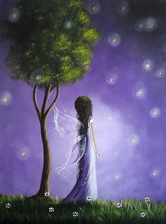 Firefly Fairy by Shawna Erback Painting  - Firefly Fairy by Shawna Erback Fine Art Print