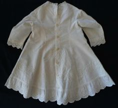 Antique Edwardian Baby Doll Dress Applied Tambour Lace Sunday Best - Seller information rachels_linen (6979 ) US $89.99