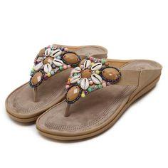 4e77af0fbfb5 Bohemia Beach Slippers Women Sandal Summer Leather