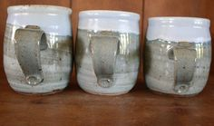 Rustic Sky Blue Marbled Celedon Wheel Thrown Mugs by KJPottery, $50.00