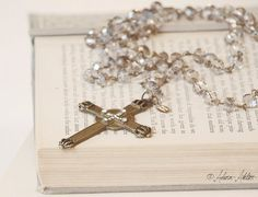 Silver Grey Crystal Rosary with Cross by adornatelier on Etsy, $129.95