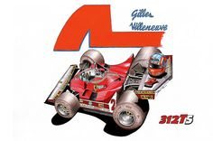 Cars Cartoon, Gilles Villeneuve, Mclaren Mp4, Truck Art, Sketchbook Ideas, Automotive Art, Interesting History, Car And Driver, Cartoon Styles